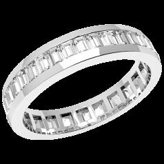 RDW097W - Verighetă/inel damă eternity din aur alb 18 kt, lățime 4.0mm, cu diamante tăietura baghetă așezate de jur împrejur
