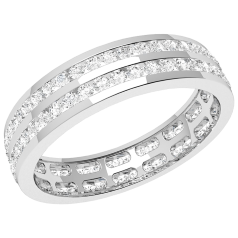 RDW098W - 18ct white gold 4.0mm full eternity/wedding ring with 2 rows of round brilliant cut diamonds going all the way around.
