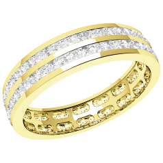 RDW098Y - 18ct yellow gold 4.0mm full eternity/wedding ring with 2 rows of round brilliant cut diamonds going all the way around.