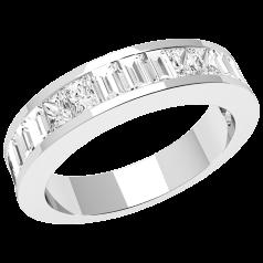 RDW099PL - Platin Eternity/ Ehering mit länglichen Princess und Baguette Schliff Diamanten