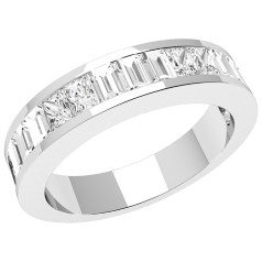 Inel Semi Eternity/Verigheta cu Diamant Dama Aur Alb 18kt cu Diamante Princess alungite si Forma Bagheta