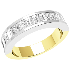 RDW099YW - 18ct yellow and white gold eternity/wedding ring with oblong princess and baguette cut diamonds