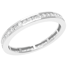 Full Eternity Ring/Diamond set wedding ring for women in platinum with round brilliant cut diamonds in channel setting going all the way around, width 2mm