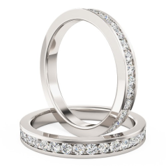 Full Eternity Ring/Diamond set wedding ring for women in 18ct white gold with round brilliant cut diamonds in channel setting going all the way around, width 2mm