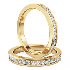 Full Eternity Ring/Diamond set wedding ring for women in 18ct yellow gold with round brilliant cut diamonds in channel setting going all the way around, width 2mm