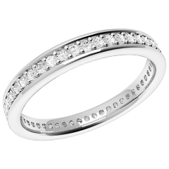 Full Eternity Ring/Diamond set wedding ring for women in 18ct white gold with round diamonds in a claw setting, width 3mm, court profile