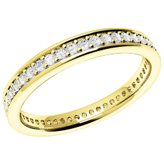Full Eternity Ring/Diamond set wedding ring for women in 18ct yellow gold with round diamonds in a claw setting, width 3mm, court profile