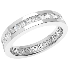 Verigheta cu Diamant/Inel Eternity Dama Aur Alb 18kt cu Diamante Rotund Briliant si Forma Bagheta de jur imrejur, Latime 4.2mm