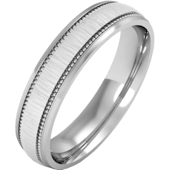 Plain Wedding Band for Women in 9ct White Gold, mill-grained, with a polished/brushed finish, heavy weight