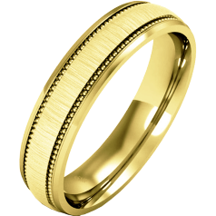 Plain Wedding Band for Women in 9ct Yellow Gold, mill-grained, with a polished/brushed finish, heavy weight