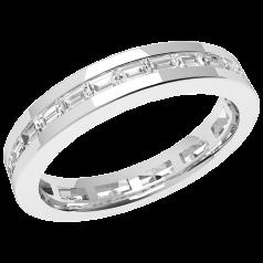 RDW104PL - Inel Eternity/ verighetă din platină, 3.5mm lat, cu diamante în formă de baghetă setate în canal, aşezate de jur împrejur