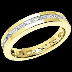 RDW104Y - 18kt Gelbgold 3.5mm voller Eternity/ Ehering mit Baguette Schliff Diamanten in Kanalfassung, die gehen ringsherum
