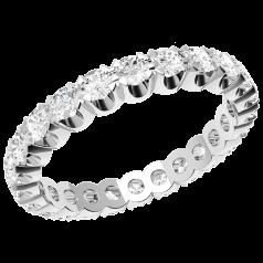RDW105W - 18kt Weissgold voller Eternity/ Ehering mit Runden Diamanten in Krappenfassung, die gehen ringsherum