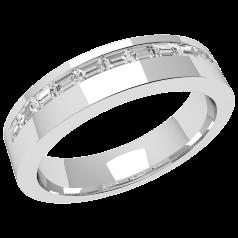 RDW106W - Verighetă damă din aur alb 18kt, curbată, lățime 4.5mm, cu 11 diamante tăietura baghetă cu setare în canal