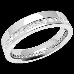 Voll Eternity Ring/Ehering mit Diamanten für Dame in 18kt Weißgold mit runden Brillanten in Kanalfassung die gehen ringsherum, 4.5mm breit