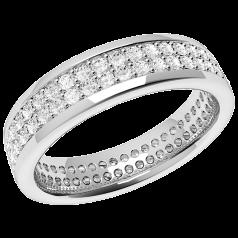 RDW108U - 950 Palladium 4.7mm breit voller Eternity/ Ehering mit 2 Reihen runder Brillanten in Krappenfassung, die gehen ringsherum