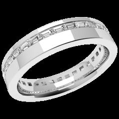 RDW109W - Verighetă damă din aur alb 18kt,lățime 4.5mm, cu diamante tăietura baghetă așezate de jur împrejur cu setare în canal