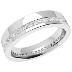 RDW110U - Palladium 4.5mm wide ladies wedding ring with channel set princess cut diamonds going all the way around.