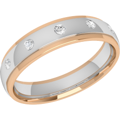 Verigheta cu Diamant Dama Aur Alb si Aur Roz 18kt cu 5 Diamante Rotund Briliant in Setare Rub-Over, Profil Bombat, Latime 4.5mm