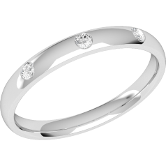 Diamond Set Wedding Ring for Women in 18ct White Gold with Three Round Brilliant Cut Diamonds in a Rub-Over Setting, Court, Width 2.5mm
