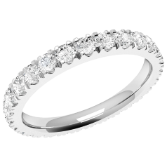 RDW114W - Verighetă damă eternity din aur alb 18kt cu diamante tăietura rotund brilliant așezate de jur împrejur