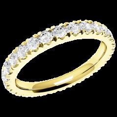 RDW114Y - 18kt Gelbgold voller Eternity/ Ehering mit runden Brillantschliff Diamanten, die gehen ringsherum