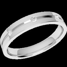 Ehering mit Diamanten für Dame in Palladium mit 3 Brillanten, außen flach/innen bombiert, 3.5mm breit