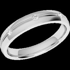 Verigheta cu Diamant Dama Aur Alb 18kt cu 5 Diamante Rotund Briliant in Setare Rub-Over, Rotunjita, Latime 3.5mm