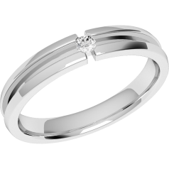 Diamond Set Wedding Ring for Women in Palladium with a single Round Brilliant Cut Diamond, Court, Width 3.5mm