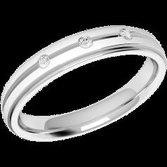 Verigheta cu Diamant Dama Aur Alb 18kt cu 3 Diamante Rotund Briliant Profil Bombat Latime 3.5mm