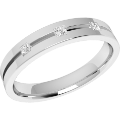 RDW125U - ladies palladium 3.5mm flat top/courted inside wedding ring with 3 princess cut diamonds