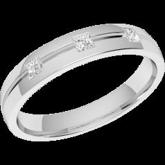 Ehering mit Diamanten für Dame in Platin mit 3 Princess Schliff Diamanten in Zargenfassung, bombiert, Breite 3.5mm