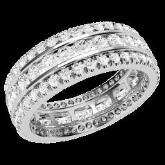 RDW131APL - Verighetă/ inel cocktail din platină, 6.25mm lat, cu diamante cu tăietura rotund brilliant în setare cu gheare şi canal