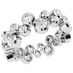 Verigheta cu Diamant/Inel Eternity Dama Aur Alb 18kt cu Diamante Rotunde in Setare Rub-Over, Latime 6.7mm