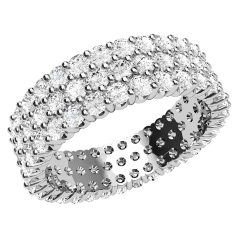 Verigheta cu Diamant/Inel Eternity Dama Aur Alb 18kt cu Diamante Rotunde Briliant in Setare Gheare in 3 Randuri, Latime 5.8mm