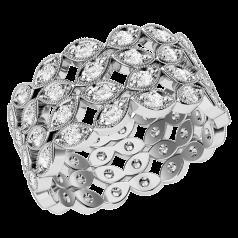 Voll Eternity Ring/Cocktail Ring/Trauring mit Diamanten für Dame in 18kt Weißgold mit runden Brillanten in 4 reihen in Krappen&Pavefassung
