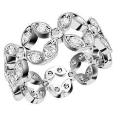 Inel Cocktail cu Diamante/Verigheta cu Diamant Dama Platina cu Diamante Rotund Briliant in Setare cu Gheare si Pavata, Latime 7.75mm
