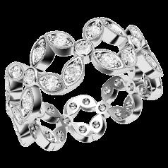 Voll Eternity Ring/Cocktail Ring/Ehering mit Diamanten für Dame in 18kt Weißgold mit runden Brillanten in Krappen&Pavefassung, 7.5mm breit