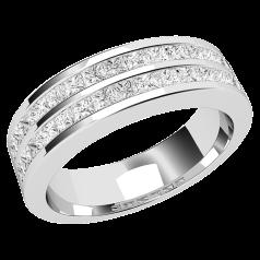 Inel Semi Eternity/verigheta cu Diamant Dama Platina cu Diamante Princess in 2 Randuri in Setare Canal, Latime 5.2mm
