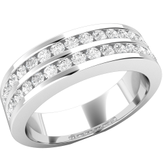 Half Eternity Ring/Diamond set wedding ring for women in 18ct white gold with round brilliant cut diamonds in channel setting in 2 rows, width 5mm