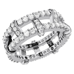 RDW142W - 18kt Weissgold 8.5mm breit Eternity/ Cocktail-Ring mit runden Brillanten in Krappenfassung