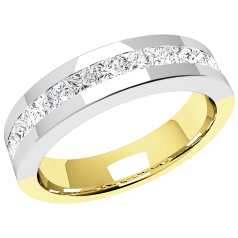 RDW146YW - 18ct yellow and white gold 4.5mm flat top/courted inside eternity/wedding ring with 13 princess cut diamonds