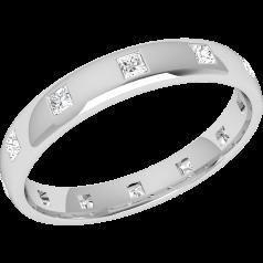 RDW149W - Verighetă damă aur alb 18kt, bombată, lățime 3.5mm, cu 12 diamante tăietura princess așezate în jurul inelului,cu setare în rub over