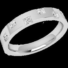 RDW151W - Verighetă din aur alb 18kt, bombată,lățime de 3.2mm, cu 6 diamante tăietura princess așezate pe margini alternative