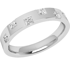 Diamond Set Wedding Ring for Women in 18ct White Gold with 6 Princess Cut Diamonds Set on Alternate Edges, Flat Top/Courted Inside, Width 3.2mm in Stock