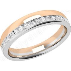 RDW154WR - Verighetă damă 18k din aur alb și aur roz ,bombată,lățime 4.25mm cu diamante tăietura rotund brilliant așezate de jur împrejur cu setare în canal