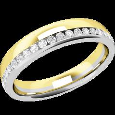 Verigheta cu Diamant Dama Aur Alb si Aur Galben 18kt cu Diamante Rotund Briliant de Jur Imprejur, Profil Rotunjit, Latime 4.25mm