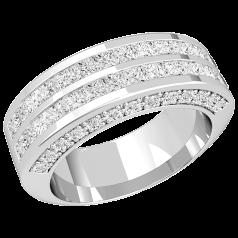 RDW155PL - Platin 7.2mm breit Cocktail/ Ehering mit 2 Reihen von Princess Schliff Diamanten, und mit seitlich gefassten runden Brillanten auf beiden Seiten