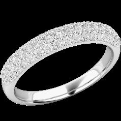 Verigheta cu Diamant/inel Eternity Dama Aur Alb, 18kt cu 52 Diamante Rotund Briliant. In Stoc!
