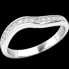 Verigheta cu Diamant/ Inel Eternity Dama Aur Alb 18kt cu 15 Diamante Rotunde Setate cu Gheare